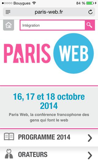 Web mobile : résultats de recherche sur le site de Parisweb