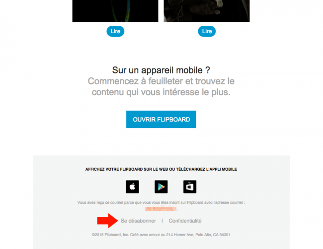 Newsletter de Flipboard : lien de désinscription