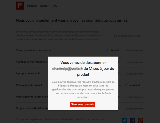 Flipboard : layer de confirmation de désabonnement