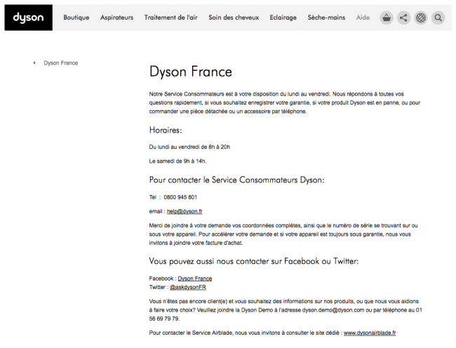 Dyson - page contact