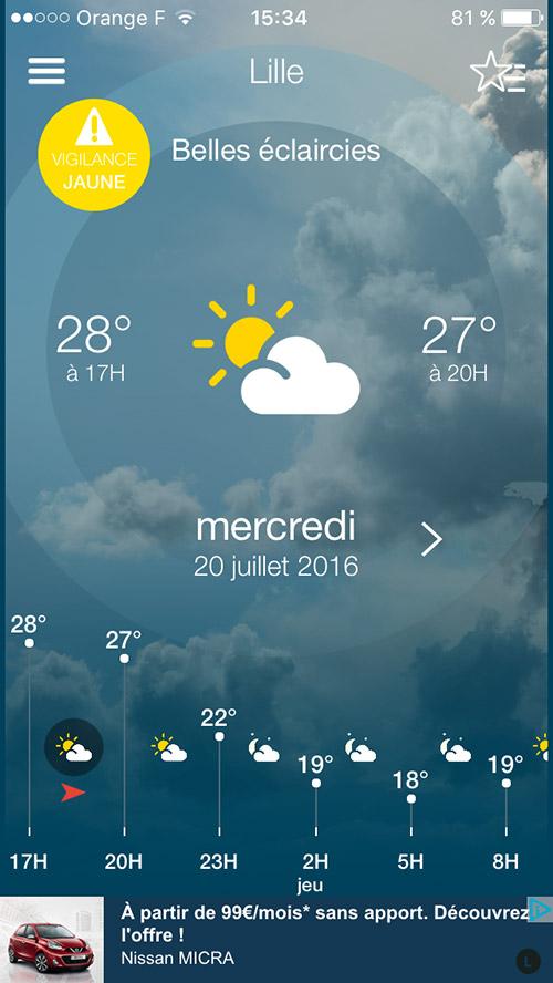 Application Météo-France - accueil