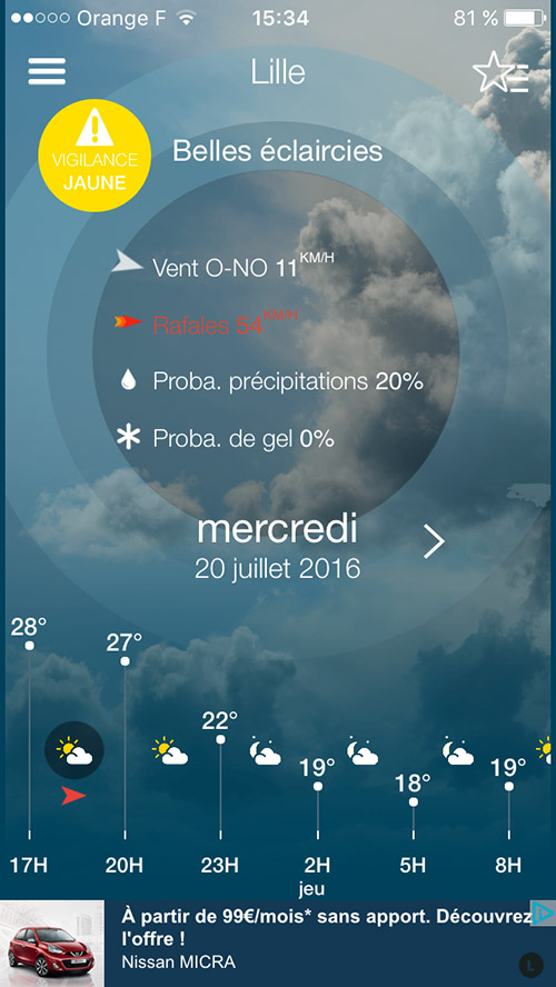 Application Météo-France - informations cachées