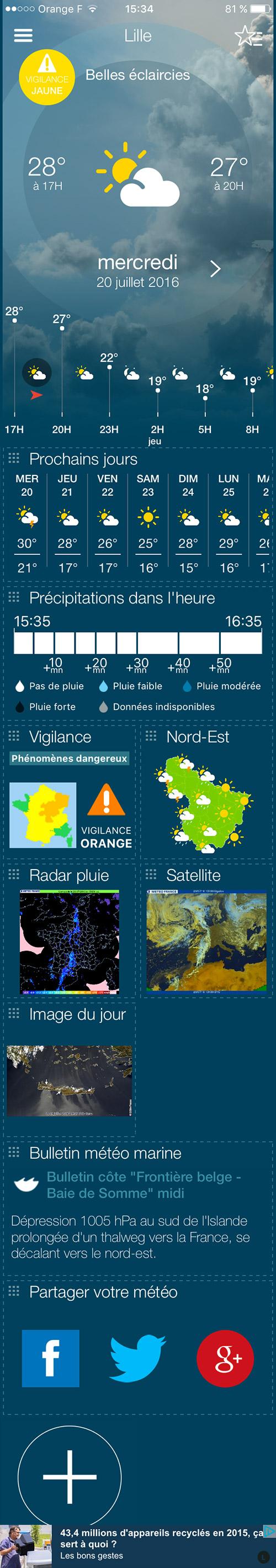 Application Météo-France - page d'accueil complète