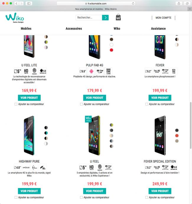 Wiko : la gamme des smartphones