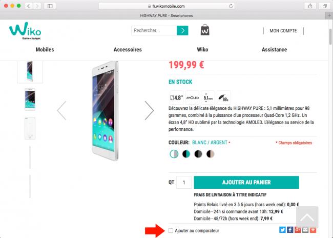 Wiko : fiche produit d'un smartphone