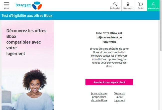 Bouygues Telecom - résultat du test d'éligibilité