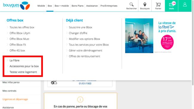 Bouygues Telecom - menu principal en haute résolution