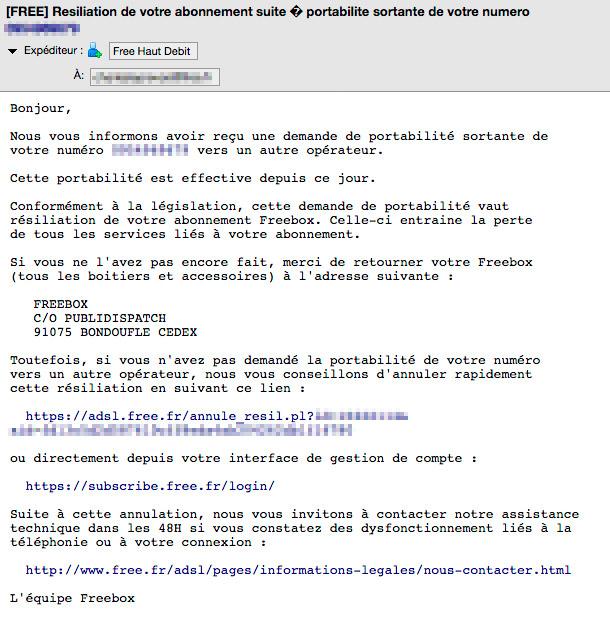 Mail de résiliation de Free
