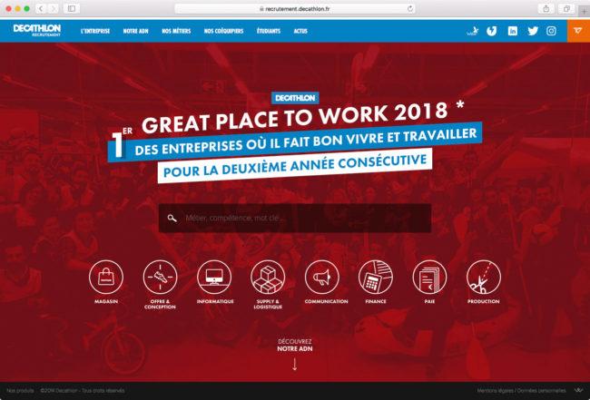 Page d'accueil du site de recrutement de Decathlon (taille moyenne)