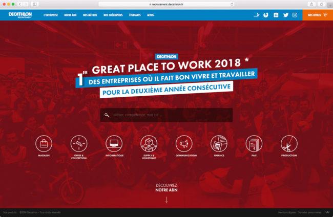 Page d'accueil du site de recrutement de Decathlon (grande taille)