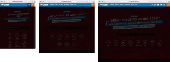 Page d'accueil du site de recrutement de Decathlon (tailles multiples avec libellé)