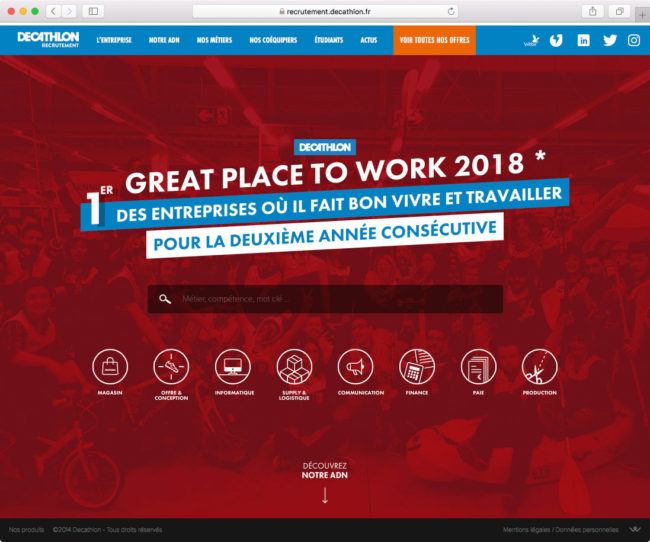 Page d'accueil du site de recrutement de Decathlon avec menu mis à jour