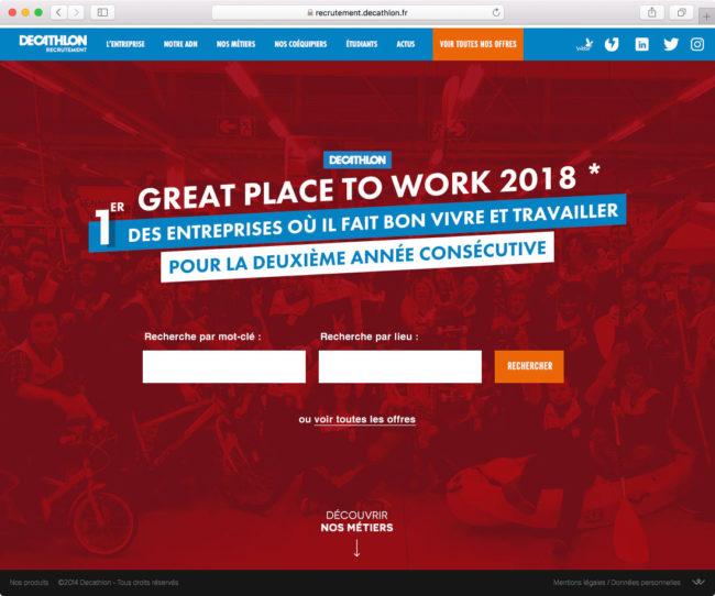 Page d'accueil du site de recrutement de Decathlon avec contenu mis à jour