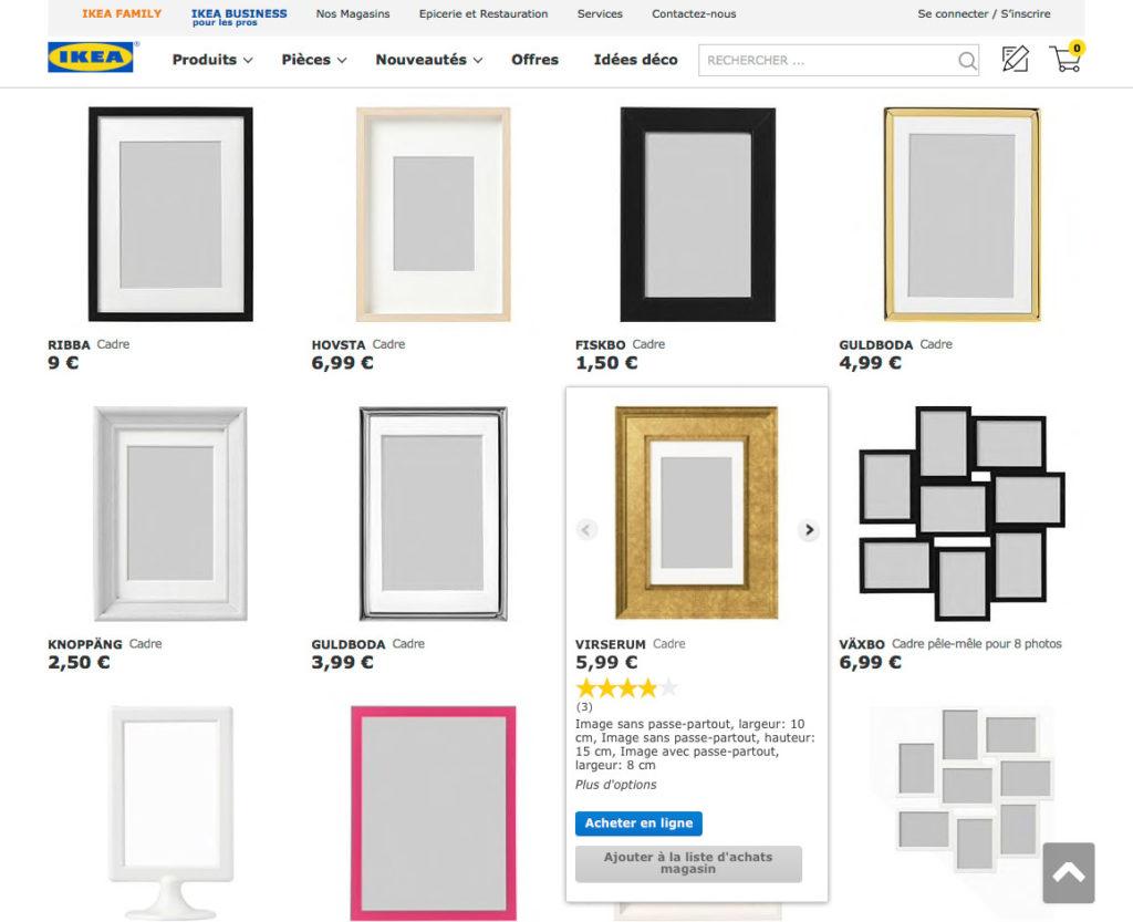 Page liste des cadres sur le site d'IKEA