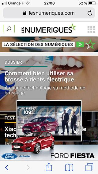 Accueil du site lesnumeriques sur smartphone