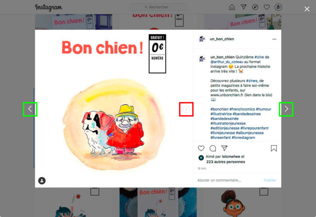 Instagram - navigation entre les publications
