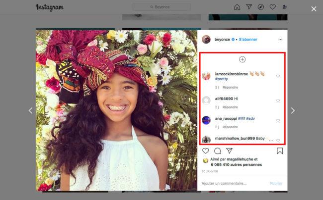 Instagram - gestion des commentaires
