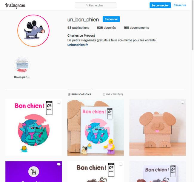 Instagram - page de garde du compte un_bon_chien