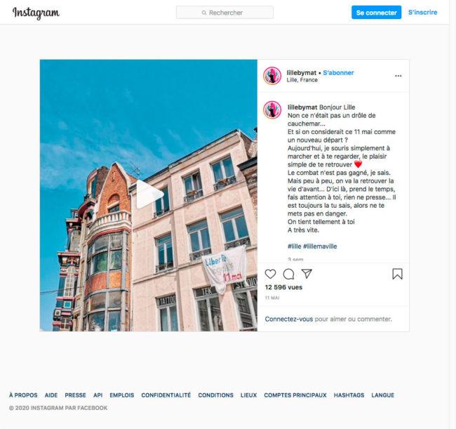 Instagram - détail d'une publication en vidéo