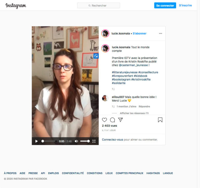 Instagram - détail d'une publication en vidéo avec lecteur