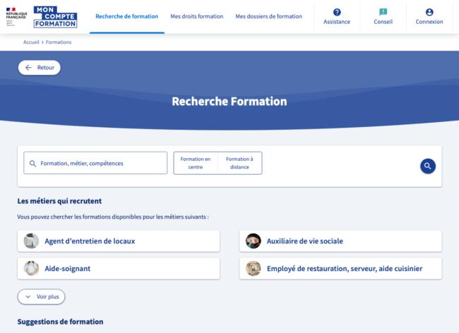 Mon compte formation - page de recherche