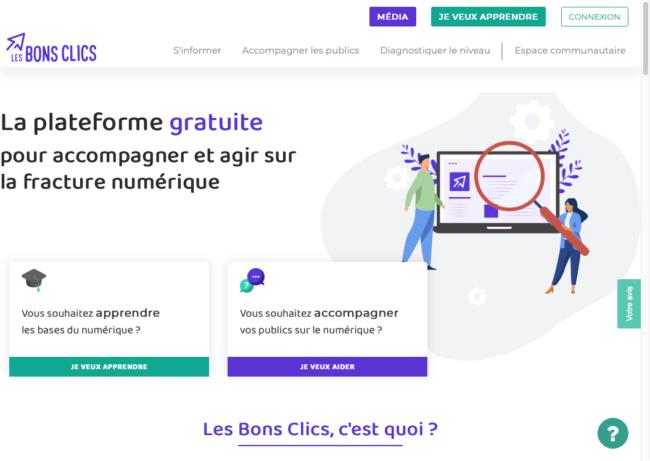 Page d'accueil du site Lesbonsclics