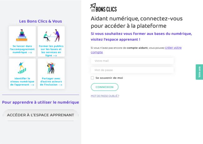 Page de connexion du site Lesbonsclics